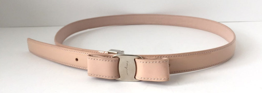 Salvatore Ferragamo Blush Pink  Vara Bow Patent Leather Belt