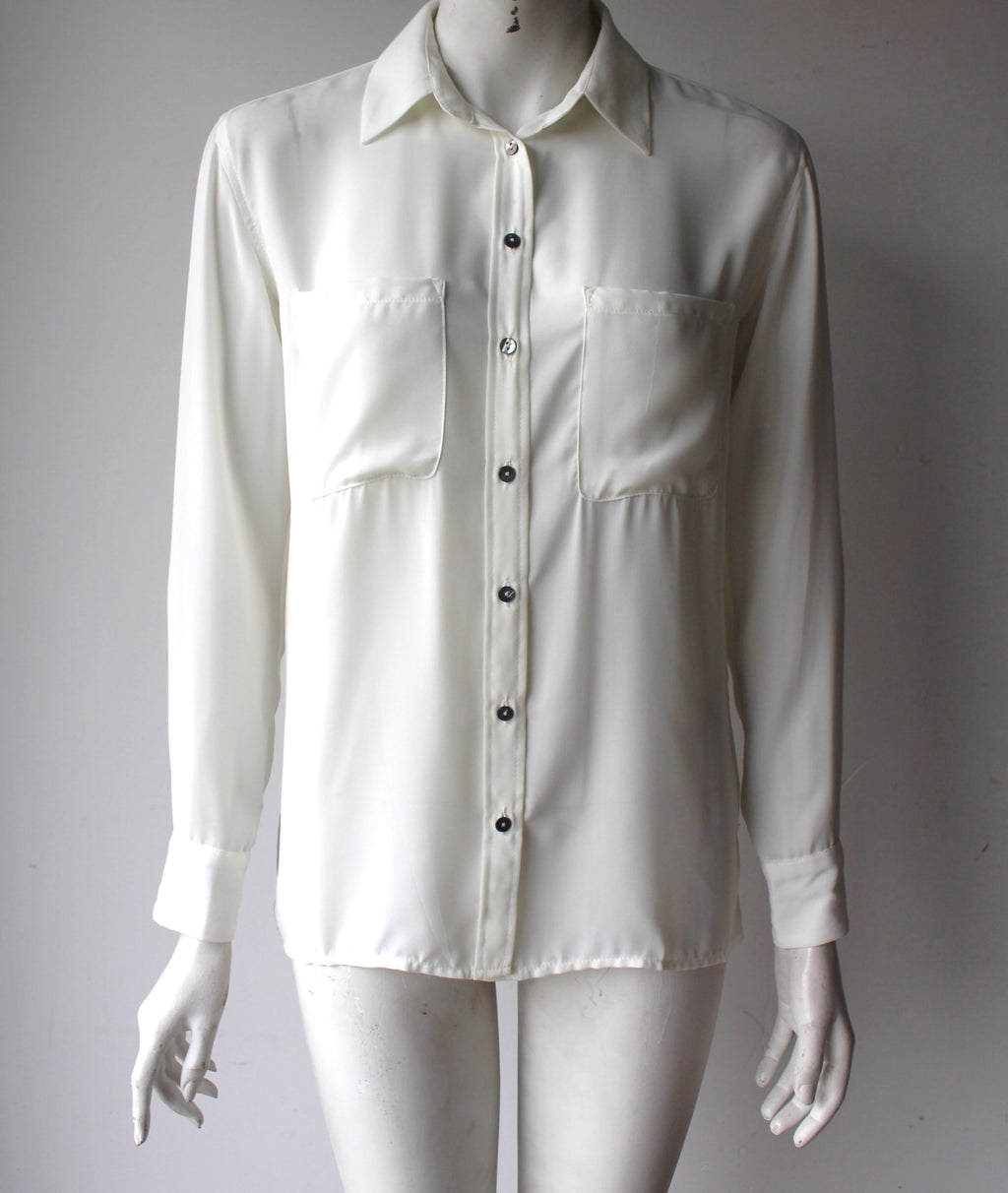 Olivaceous Cream Long Sleeve Button-Up Blouse - Joyce's Closet  - 1
