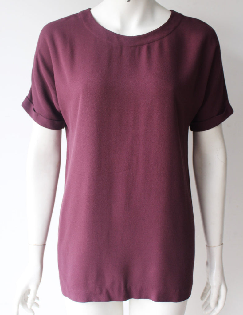 Oak & Fort Burgundy Round Neck Blouse - Joyce's Closet  - 1