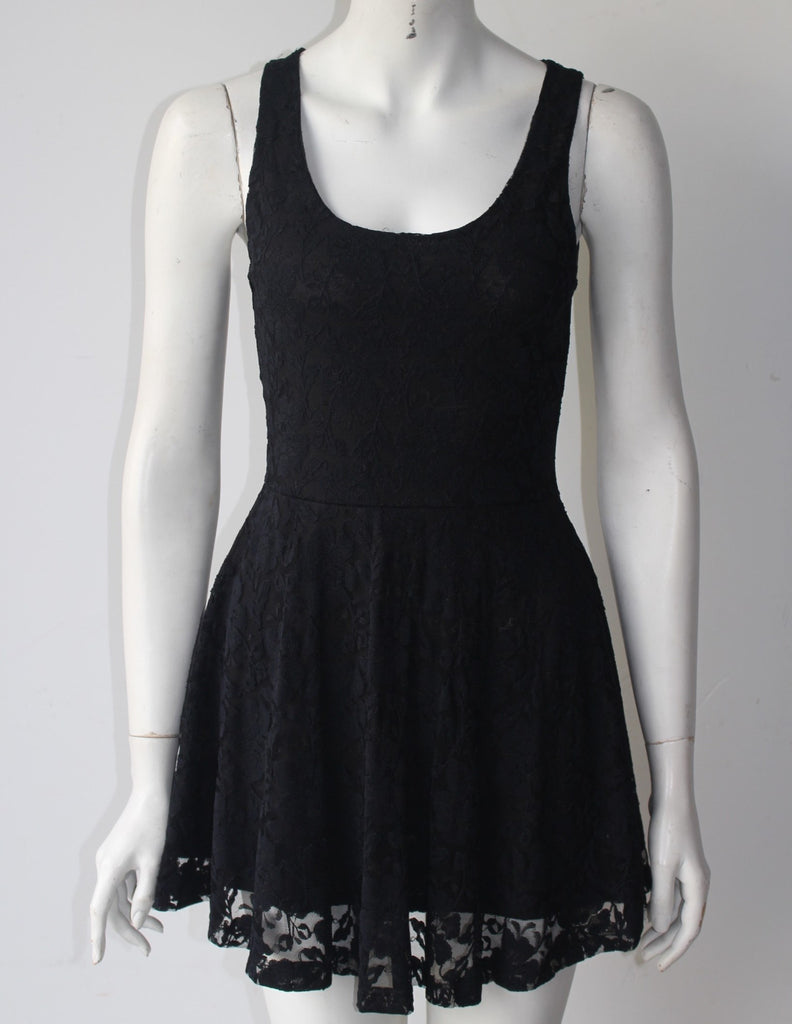Dilemma Black Mini Lace Skater Dress - Joyce's Closet  - 1