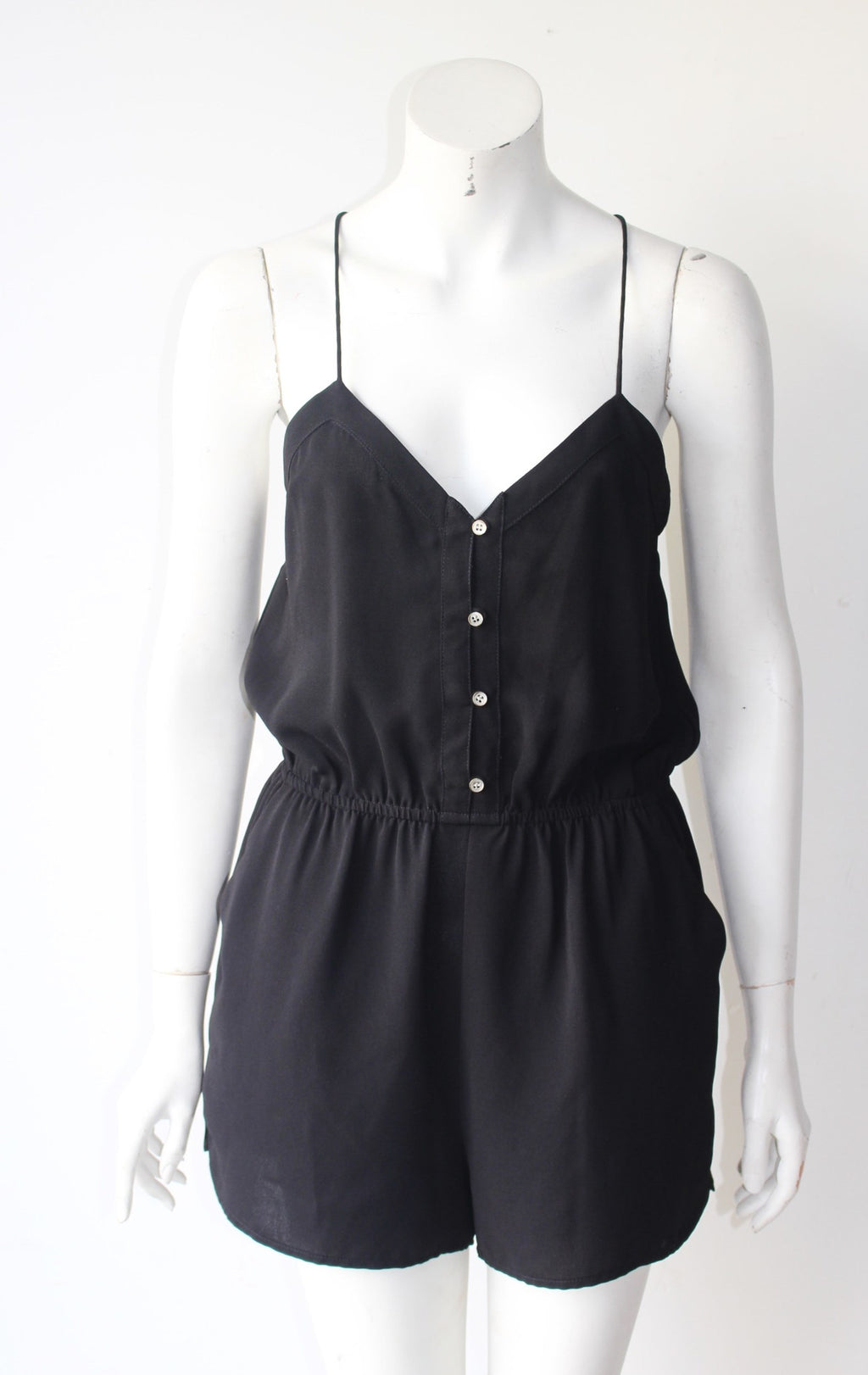 Propaganda Black Sleeveless Romper - Joyce's Closet  - 1