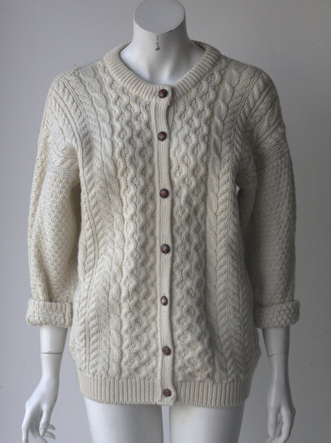 Vintage Higland Rome Cream Knit Button Up Sweater - Joyce's Closet  - 1