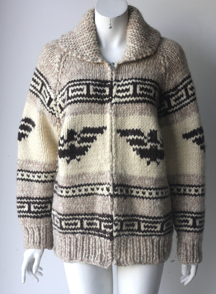 Vintage Cowichan Oversized Knit Sweater Jacket - Joyce's Closet  - 1