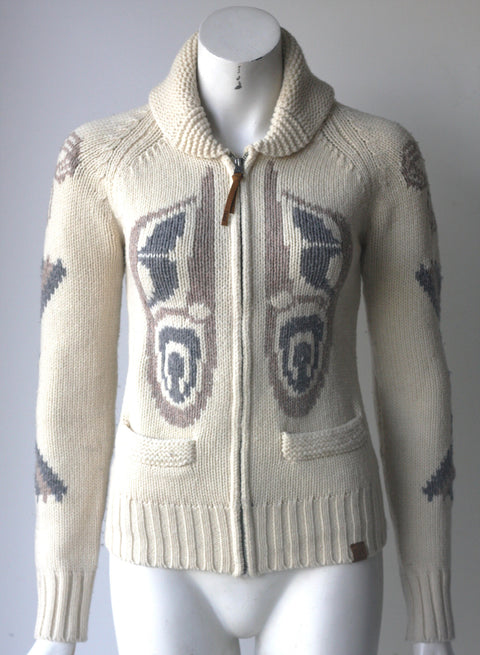 TNA Cream Printed Lambswool Sweater - Joyce's Closet  - 1