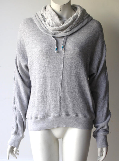 TNA Grey Hooded Scowl Neck Sweater - Joyce's Closet  - 1