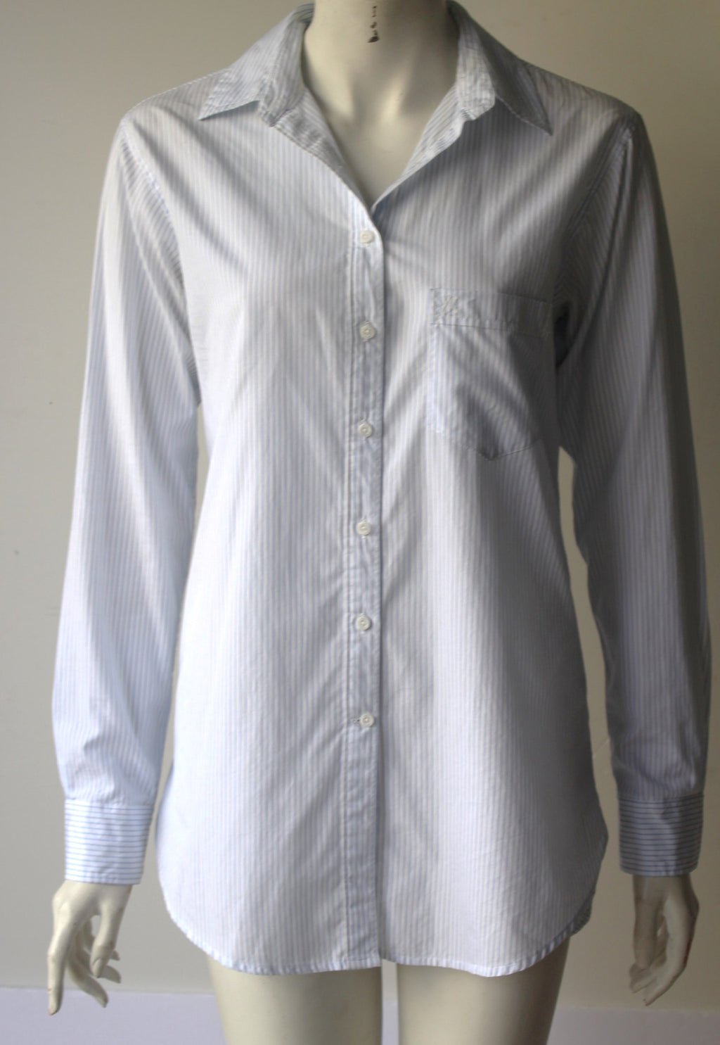 Talula Boyfriend Fit White & Blue Stripe Shirt - Joyce's Closet  - 1