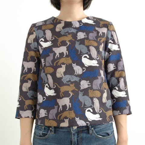 H&M Blue Cat Print Blouse Size 12