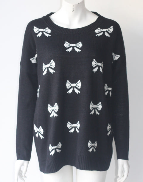 Ya Los Angeles Black & White Bow Sweater - Joyce's Closet  - 1
