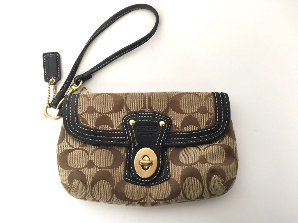Coach Small Monogram Canvas Wristlet Clutch