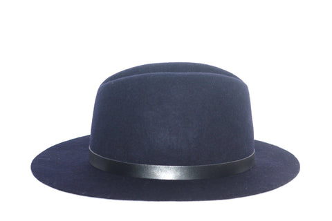 Brand New Indigo Navy Wool Felt Hat - Joyce's Closet  - 1