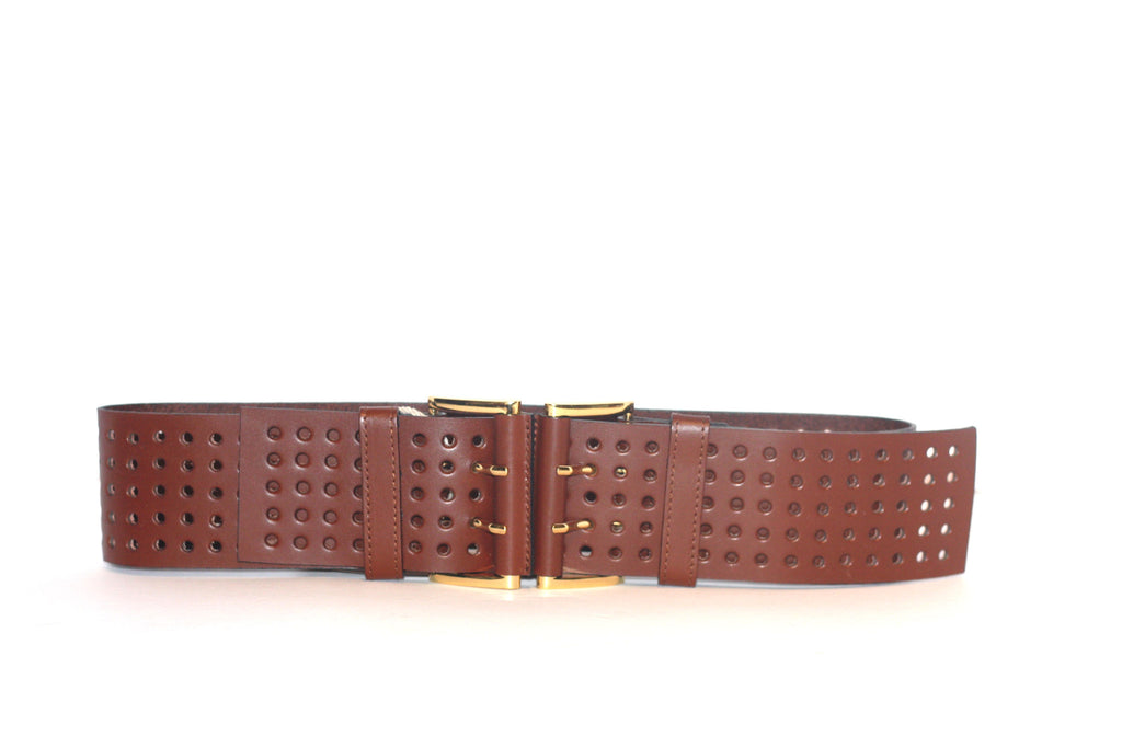 BCBG Double Buckle Wide Brown Leather Belt