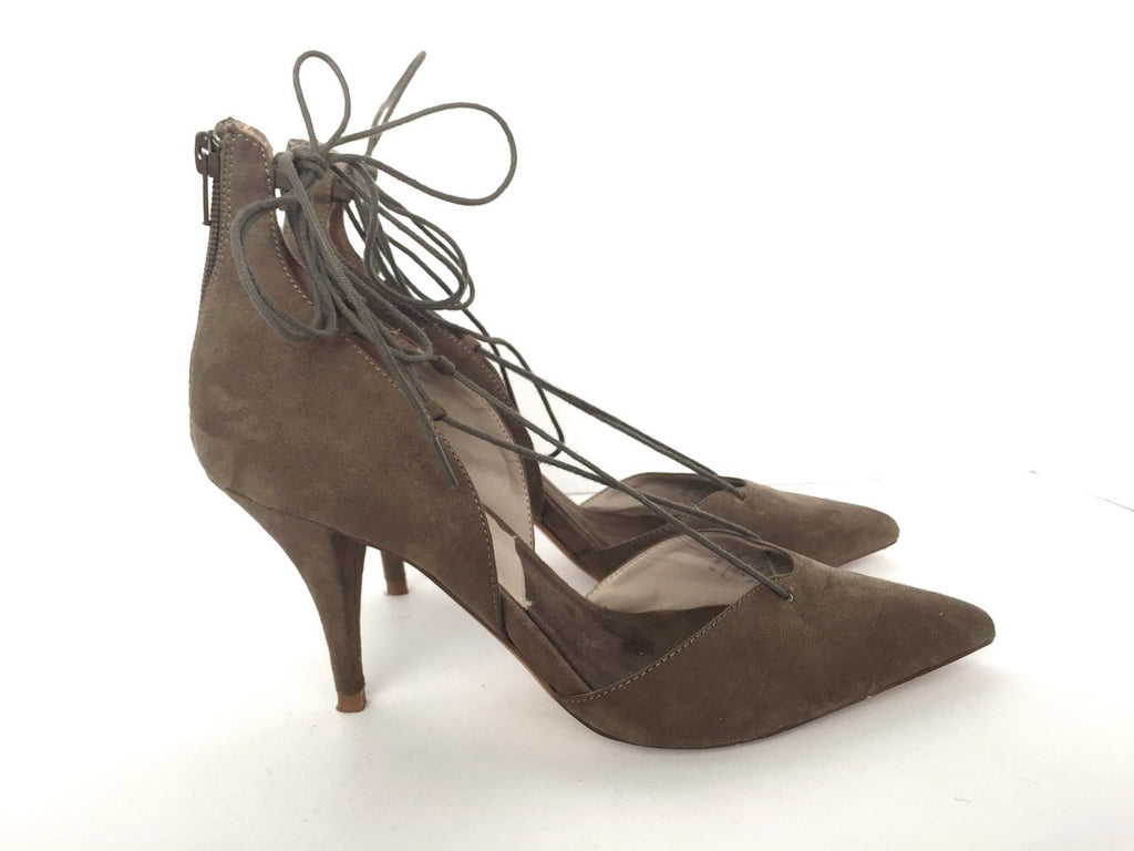 Zara Olive Green Suede Pointed Lace Up Heels Size 10
