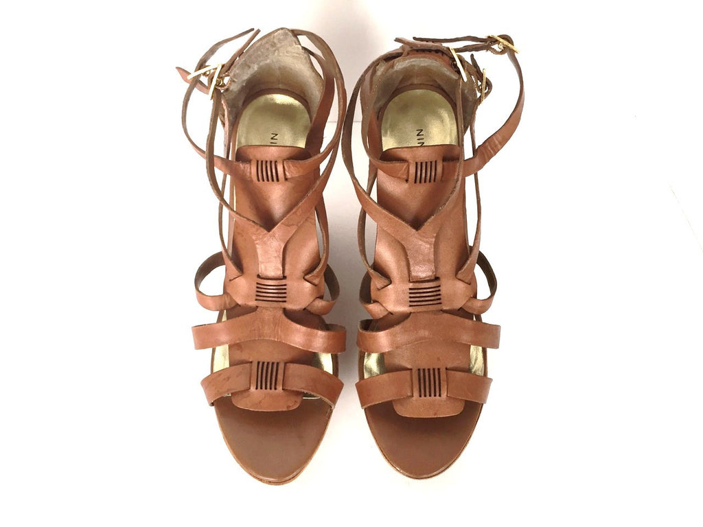 Nine West Brown Strappy Leather Wedge Sandals Size 10