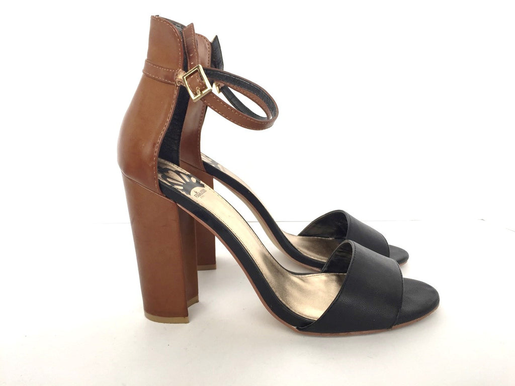 Fergalicious Black & Brown Block Heel Sandals Size 10