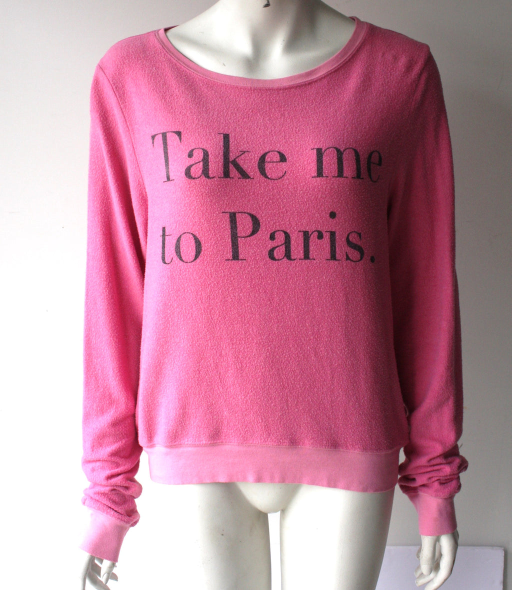 "Wild Fox Pink Round Neck"" Take Me To Paris"" Sweater - Joyce's Closet  - 1"