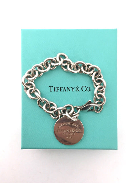 "Tiffany & Co "" Return To Tiffany"" Sterling Silver Round Tag Charm Bracelet"