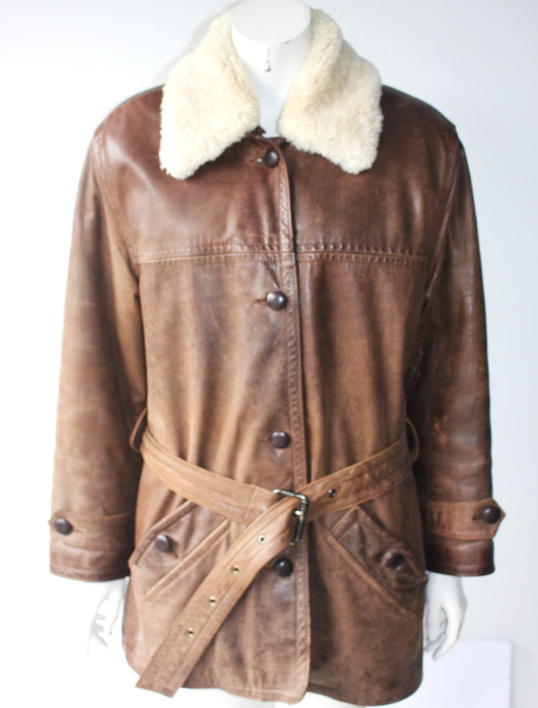Jacob Brown Leather & Wool Belted Coat Size M