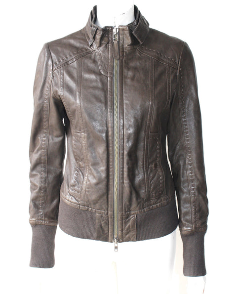 Aritzia Mackage Brown Jerry Leather Motorcycle Jacket