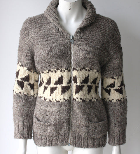 Vintage Talon Cowichan Brown Knit Sweater - Joyce's Closet  - 1
