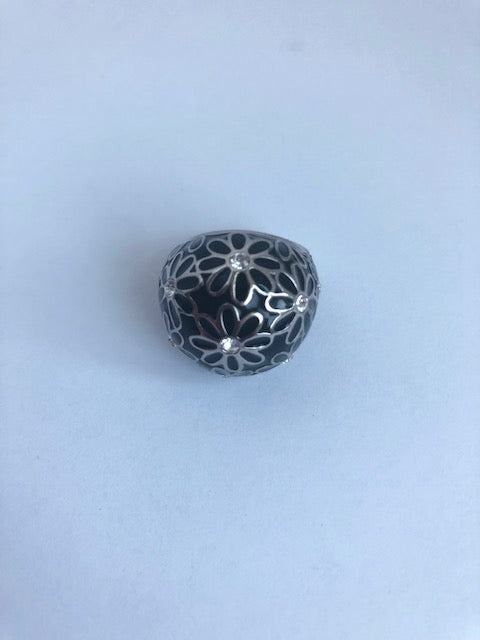 Coach Black & White Pave Swarovski Crystal Ring Size 6