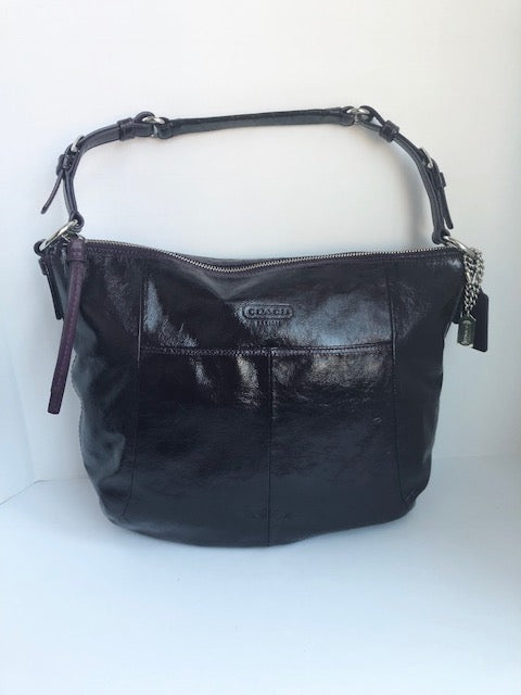 Coach Dark Purple Patent Leather Hobo Bag