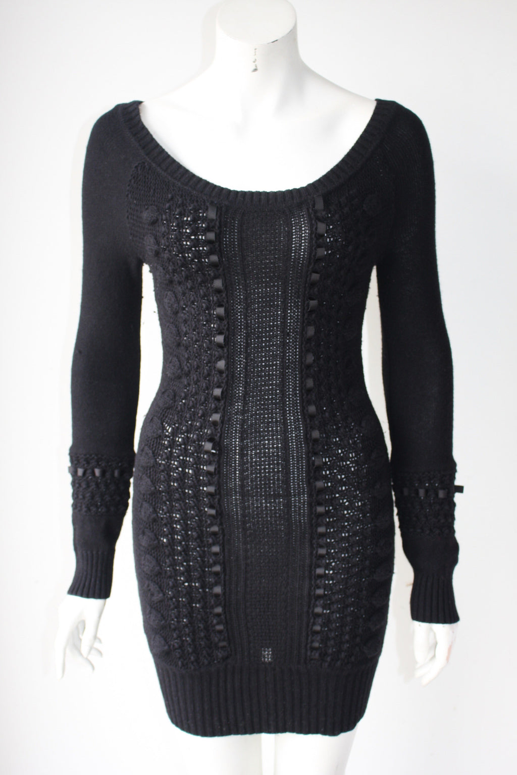 Guess By Marciano Black Long Sleeve Sweater Dress - Joyce's Closet  - 1
