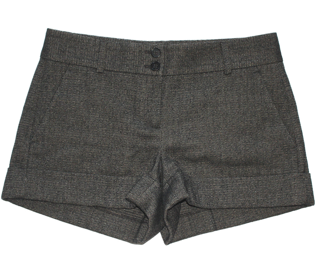 Theory Grey Wool Herringbone Shorts - Joyce's Closet  - 1