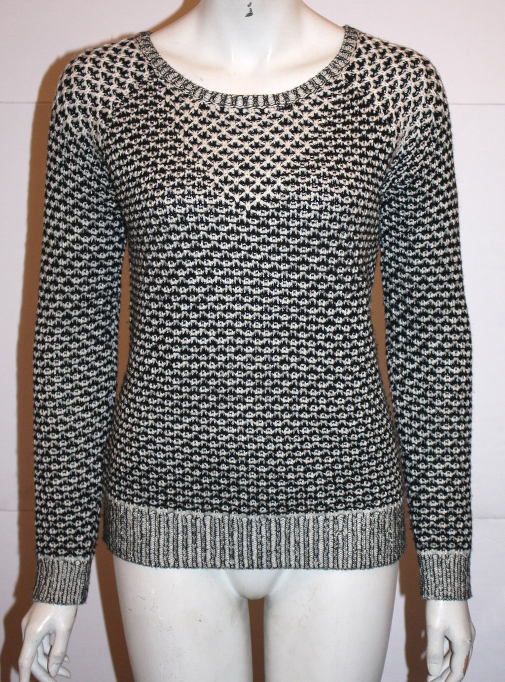 Anthropologie Sparrow Black & Grey Round Neck Knit Sweater - Joyce's Closet  - 1