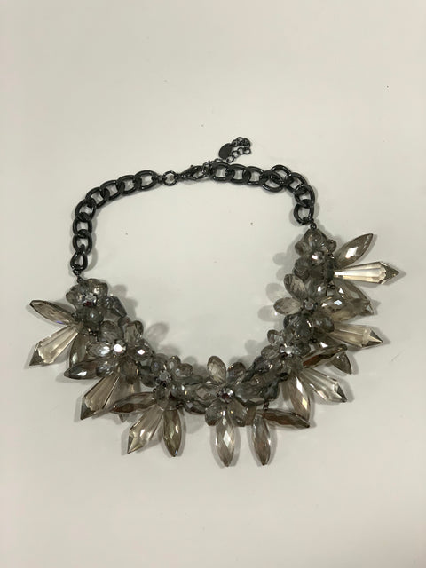 Zara Grey & Clear Stone Cluster Bib Necklace