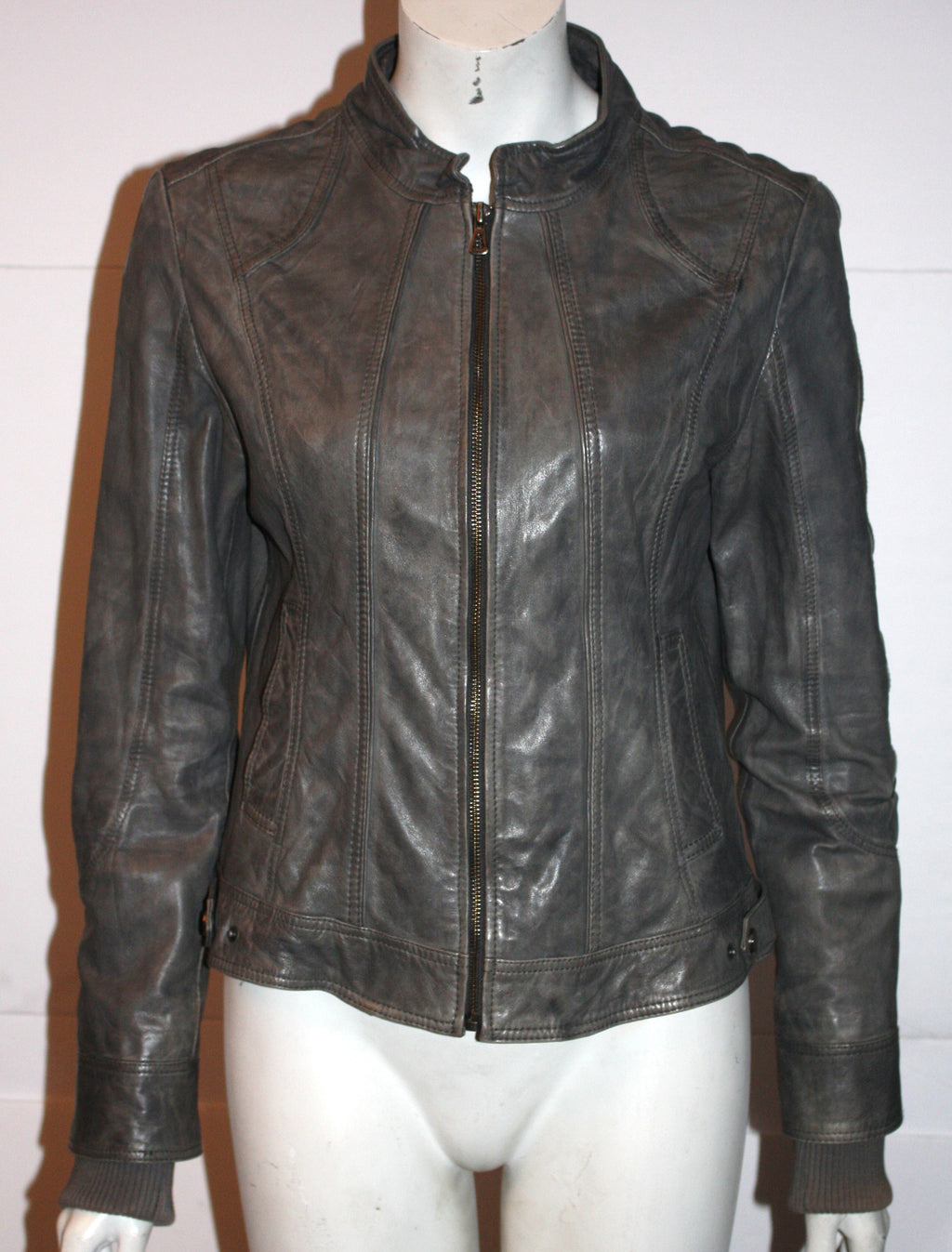 Bod & Christensen Grey Leather Motorcycle Jacket - Joyce's Closet  - 1