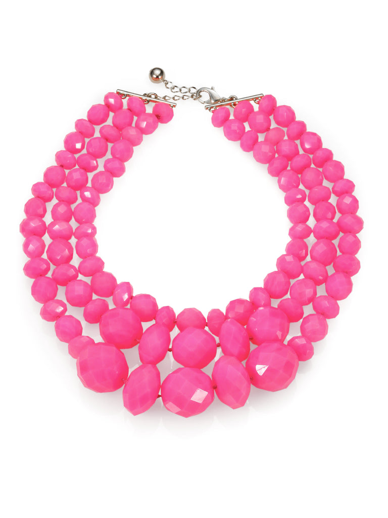 "Kate Spade "" It's A Swirl"" Pink Triple Strand Necklace"