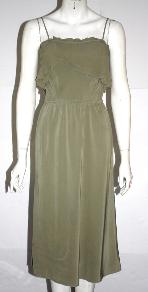 Wilfred Olive Green Midi Silk Dress - Joyce's Closet  - 1