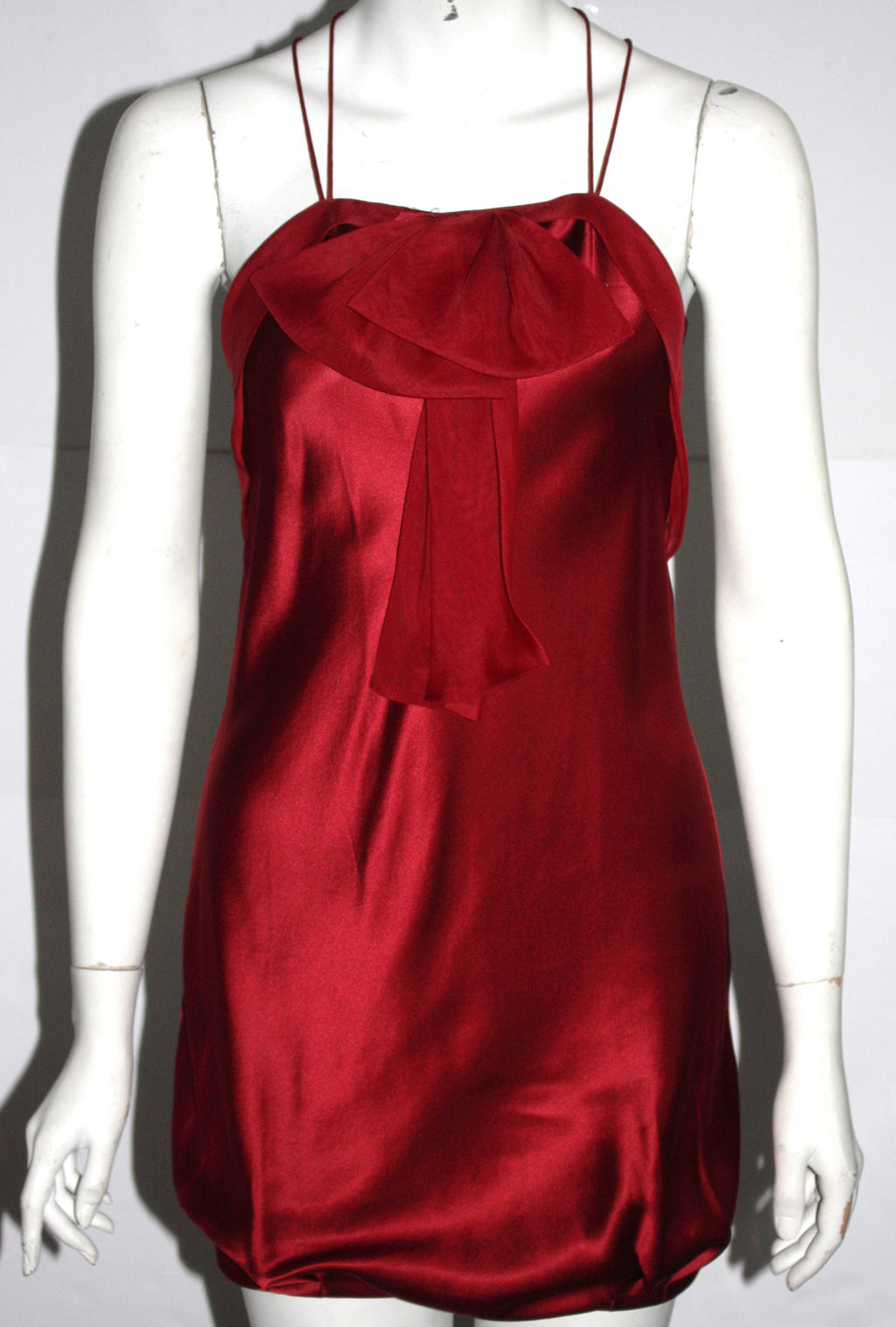 Bebe Red Halter Mini Silk Dress - Joyce's Closet  - 1