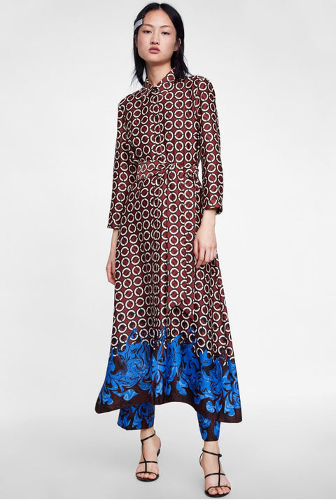 Zara Goemetric Print Maxi Belted Dress Size XXL