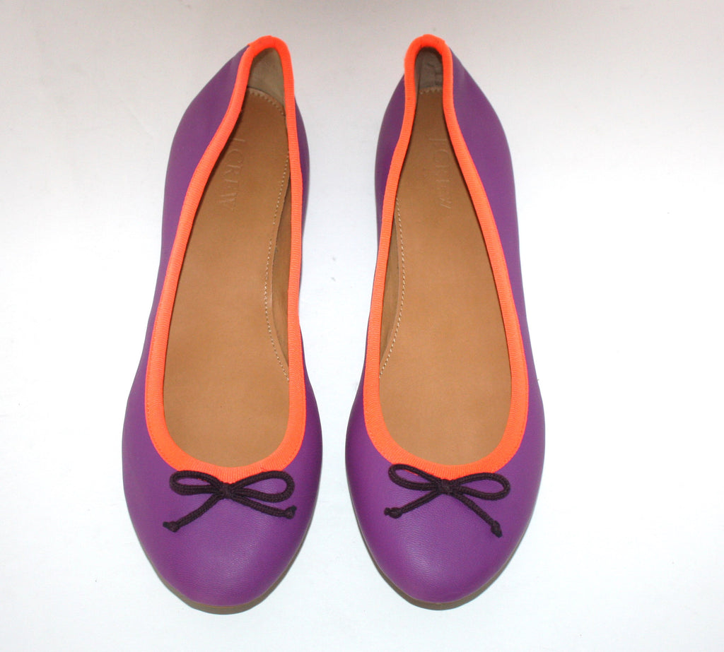 J. Crew Purple & Orange Ballet Flats Size 8