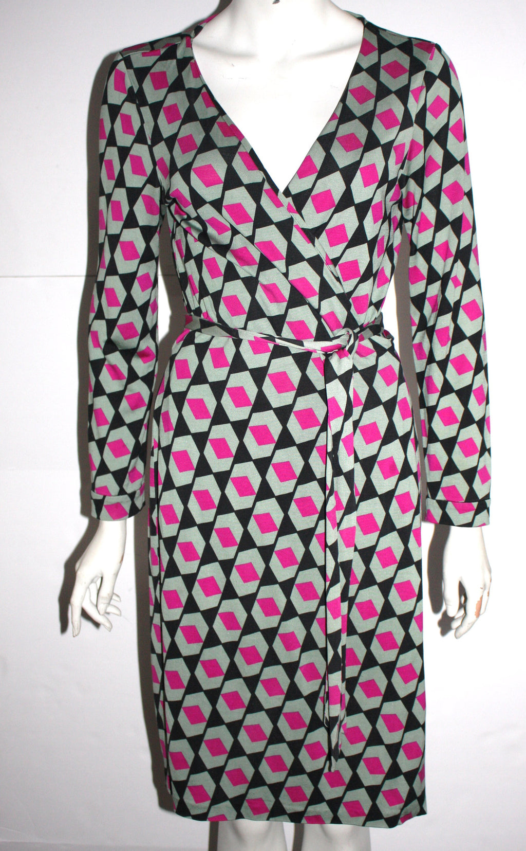 Diane Von Furstenberg Multi Color Silk Wrap Dress Size 12