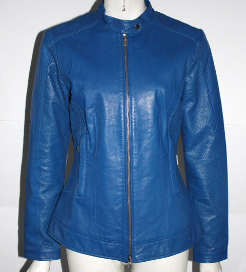 Danier Blue Leather Moto Jacket