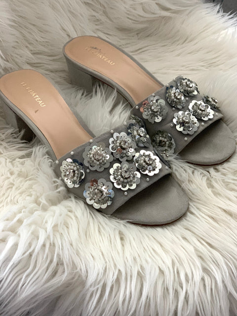 Le Chateau Grey Embellished Mule Sandals Size 9