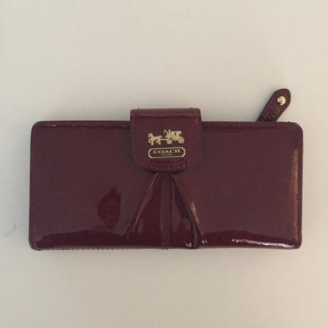 Coach Maroon Patent Leather Bi-Fold Wallet - Joyce's Closet  - 1