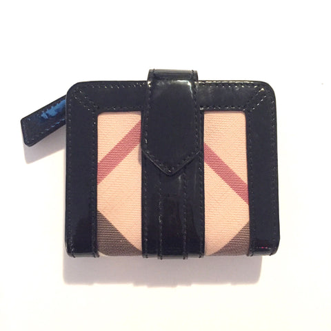 Burberry Nova Check Patent Leather Coated Wallet - Joyce's Closet  - 1