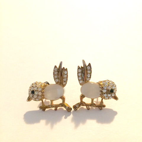 Anthropologie Gold Plated Rhinestone Bird Earring - Joyce's Closet  - 1
