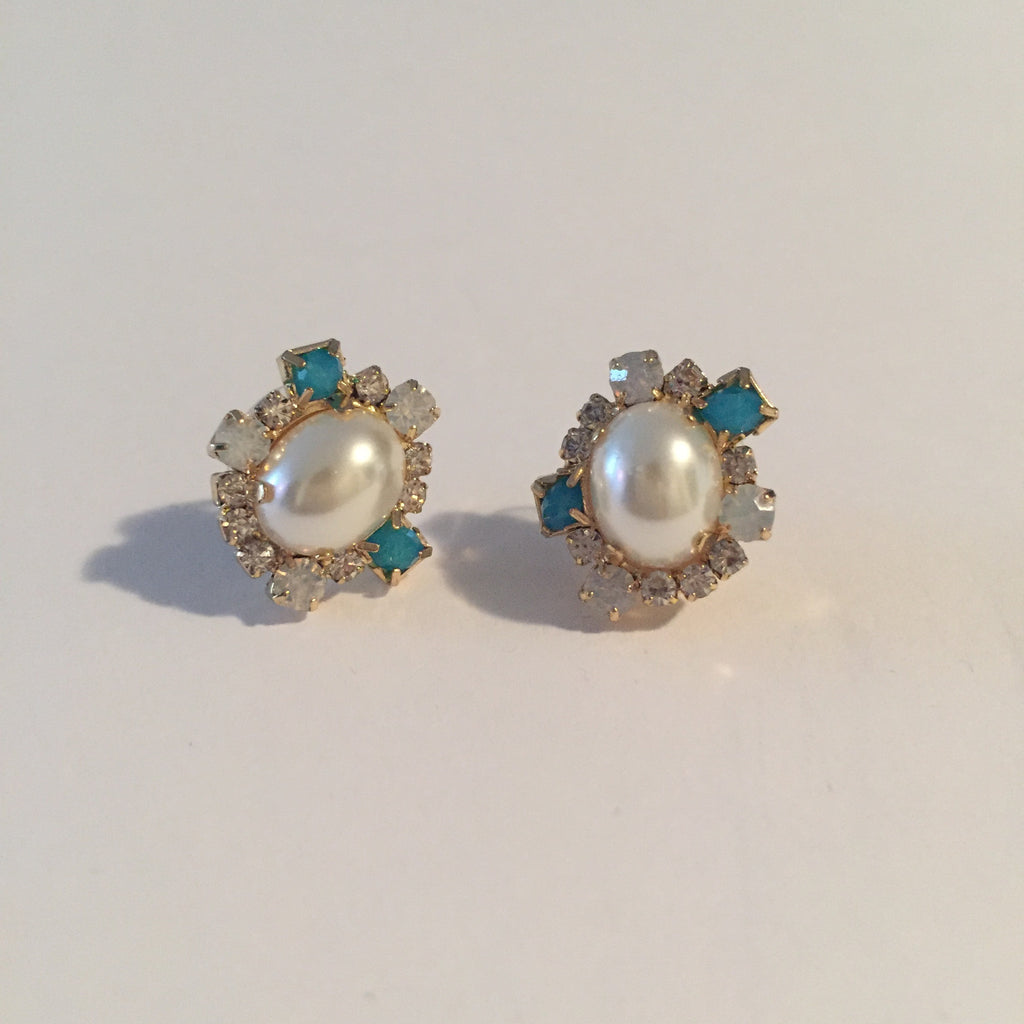 Anthropologie Torquiose Pearl Set Earring - Joyce's Closet  - 1