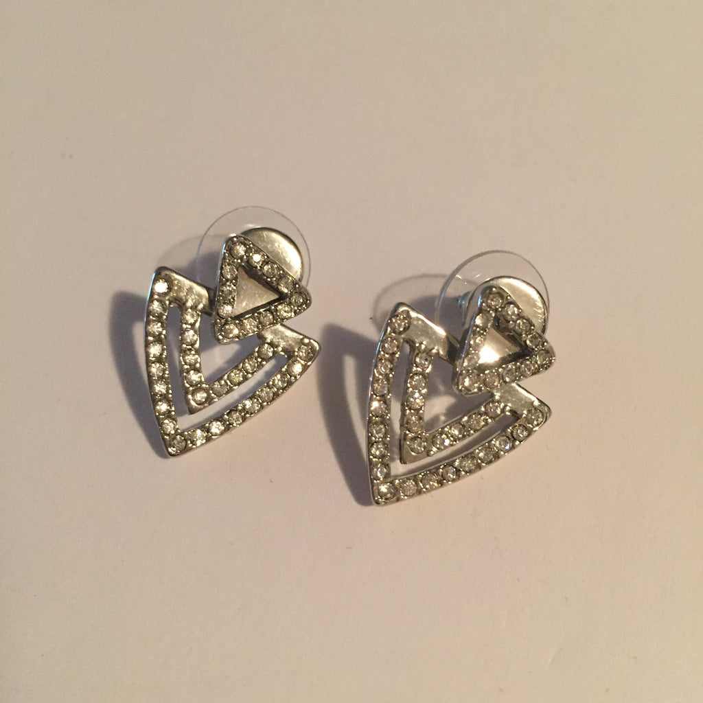 BCBG Double Triangle Silver Earring - Joyce's Closet  - 1