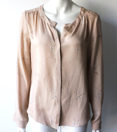 T Babaton Nude Floral Silk Blouse Size M