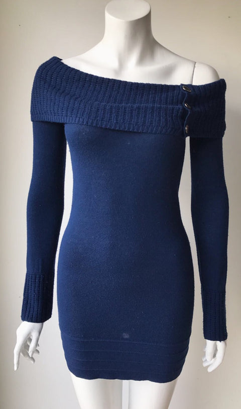 Guess By Marciano Blue Sweater Dress Size XS