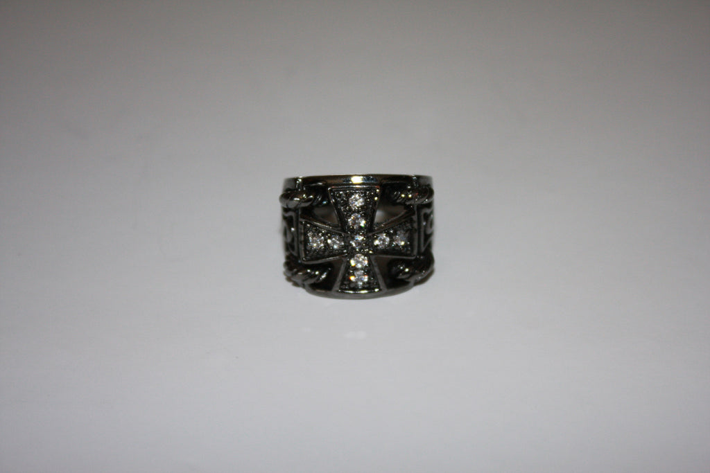 BCBG Gun Metal Cross Ring - Joyce's Closet  - 1