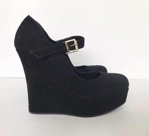 Mimosa Black Suede Wedge Heels Size 6