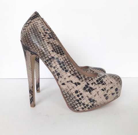 Aldo Platform Leather Snakeskin Pumps Size 5