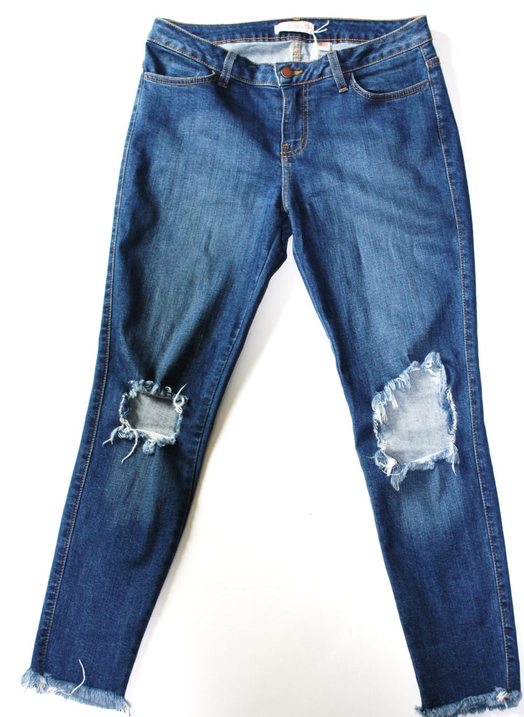 Vibrant Medium Blue Distressed Skinny Jeans - Joyce's Closet  - 1