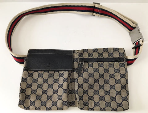 GUCCI Blue Monogram Waist Belt Bag Fanny Pack